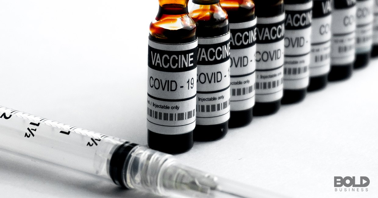 A line of vials of the COVID vaccine