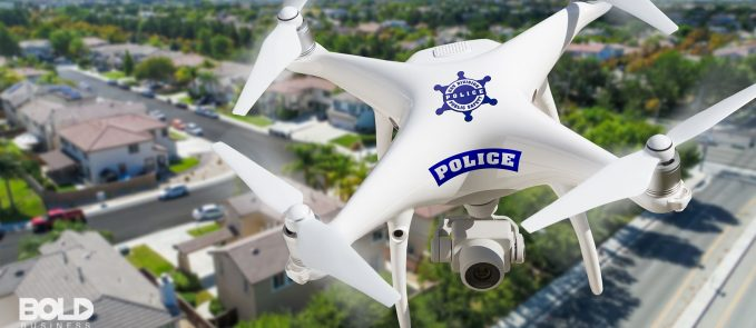 A close-up of a police drone in the air