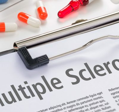 A doctor reading about multiple sclerosis