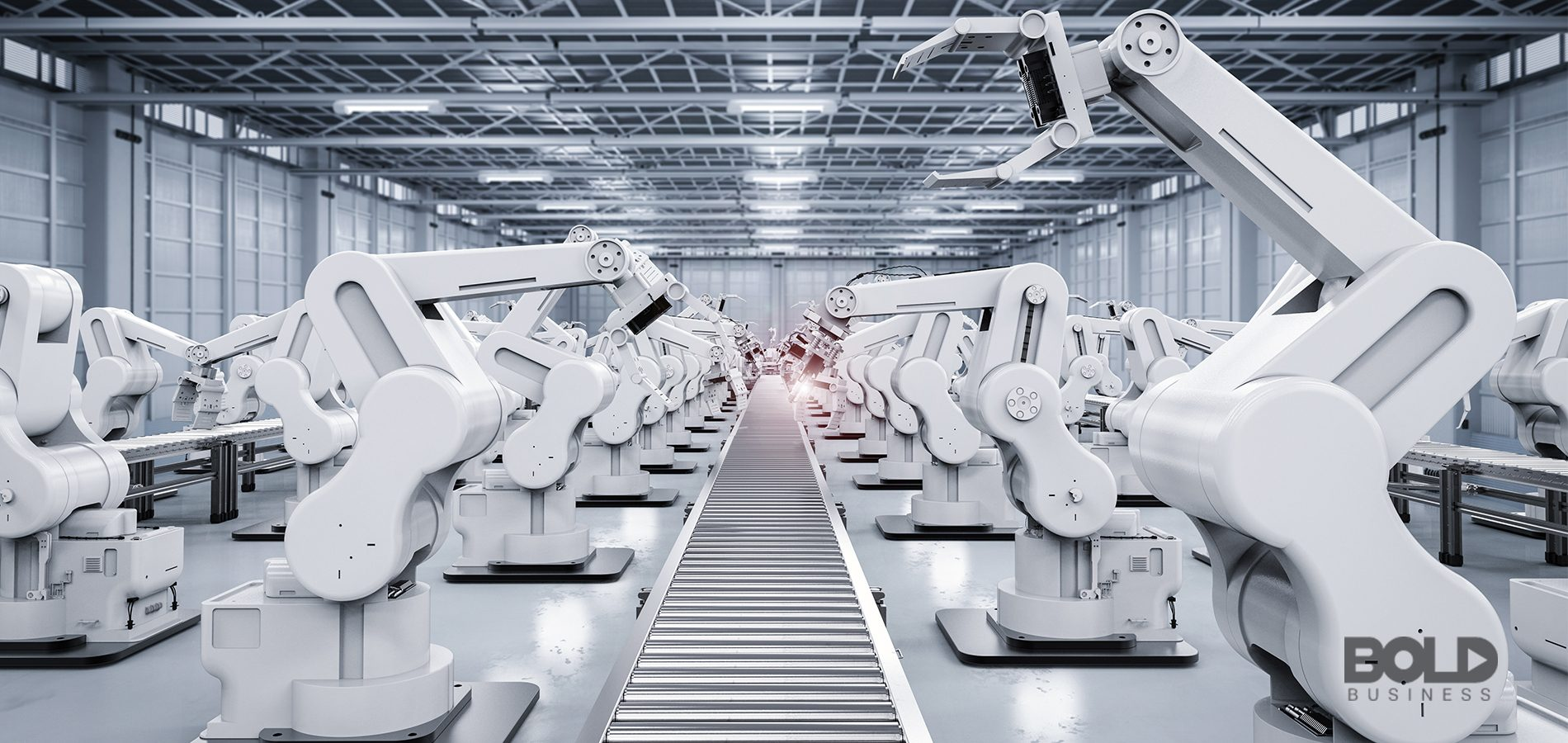 A robotic assembly line ready to assemble stuff