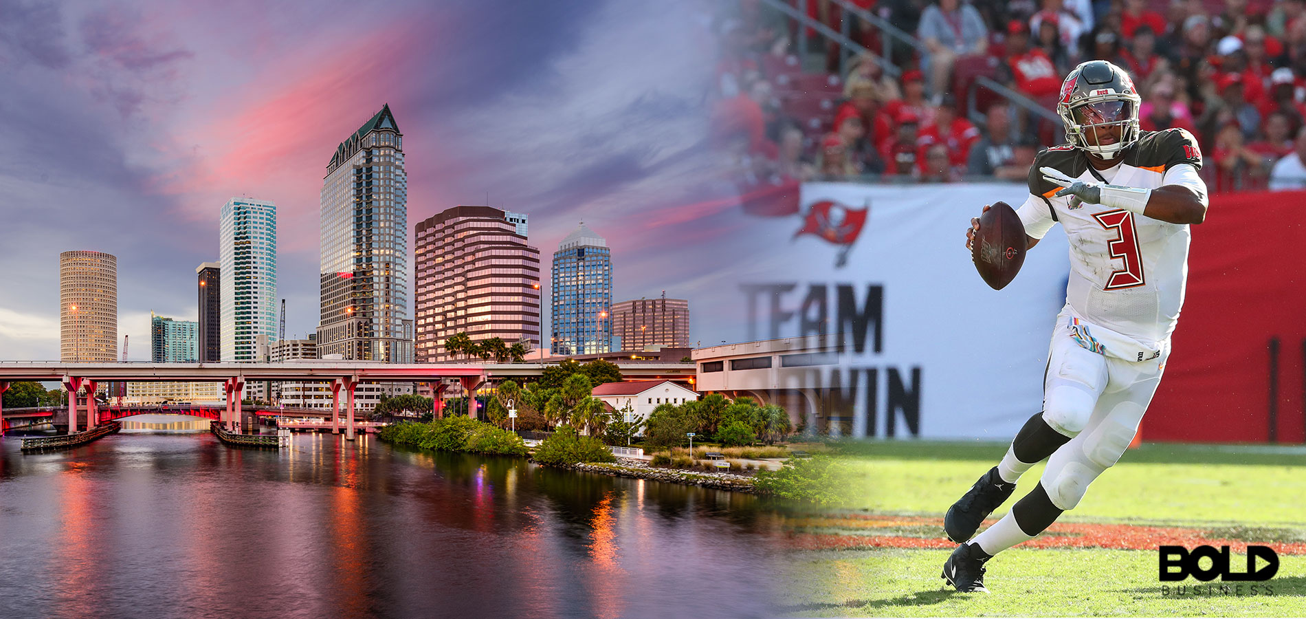 The Tampa skyline while the Bucs play