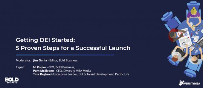 Title page for Bold Business diversity equity and inclusion webinar