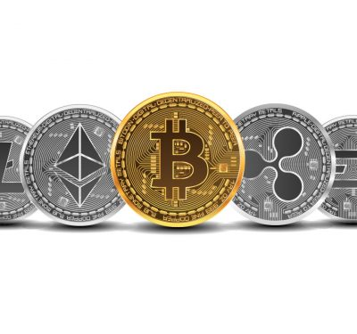 A bunch of digital coins lined up