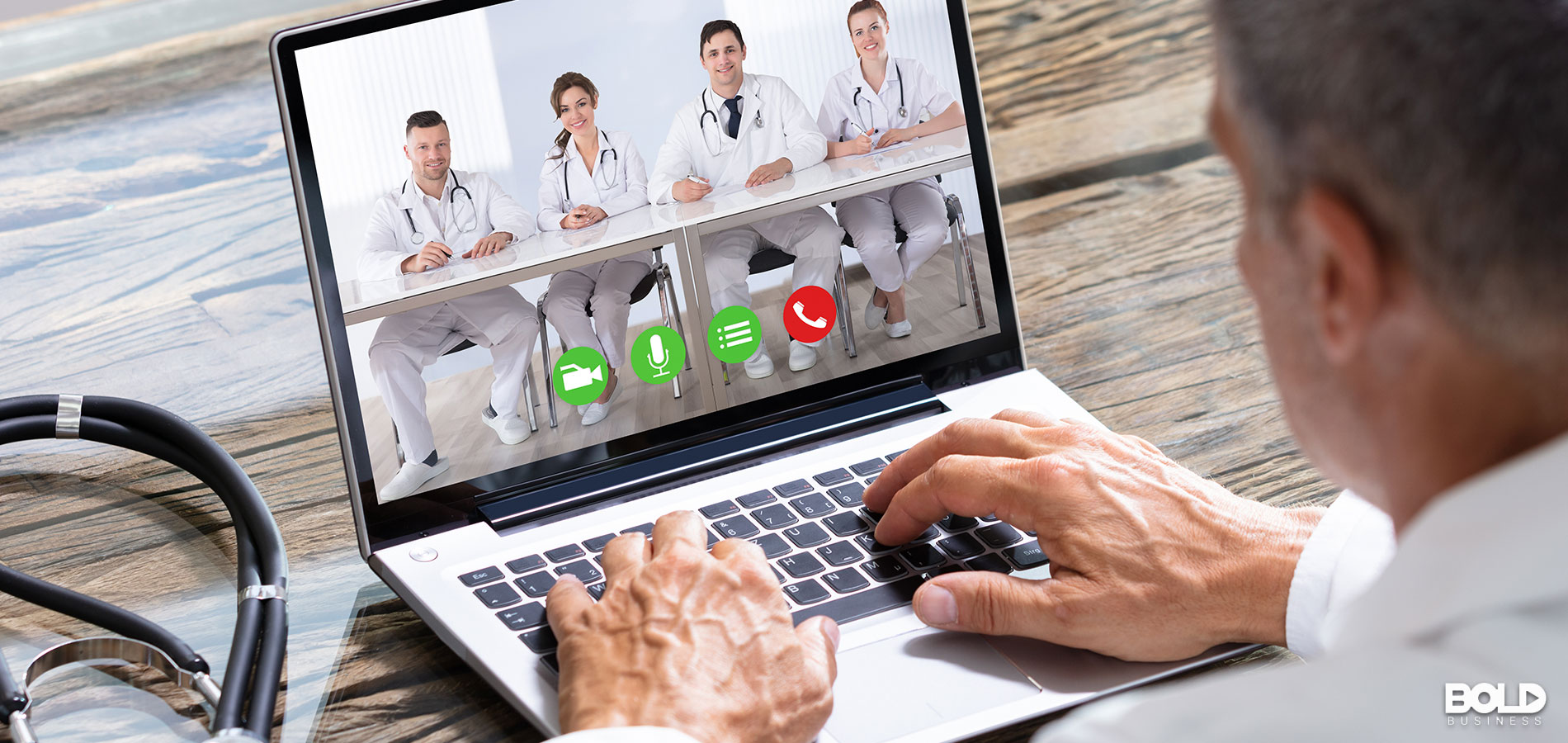 A medical professional conversing with his peers online