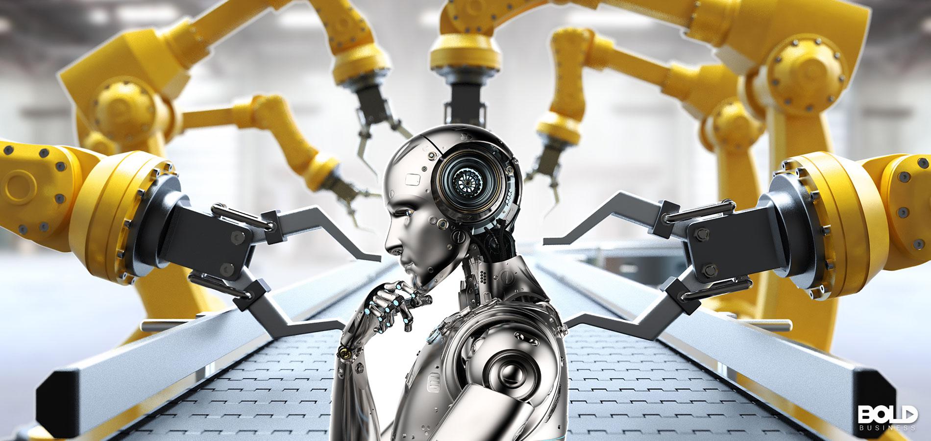 Some robots building a Terminator