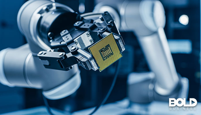 A robot putting a computer chip somewhere