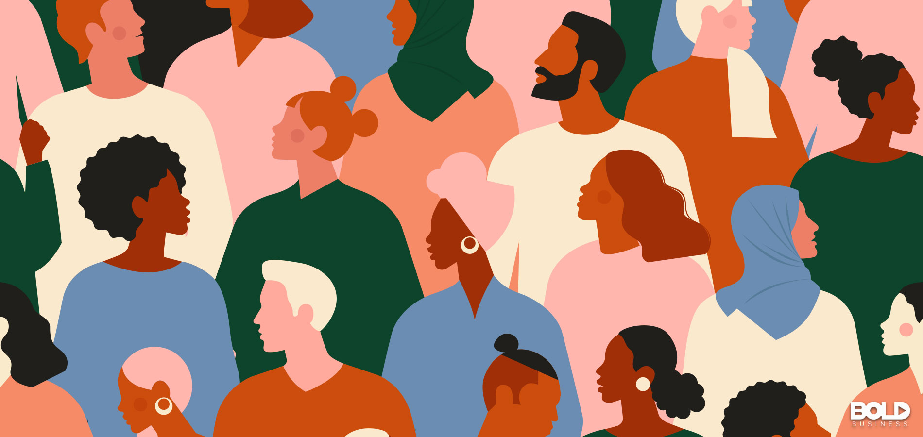 A cartoon of a diverse crowd of people