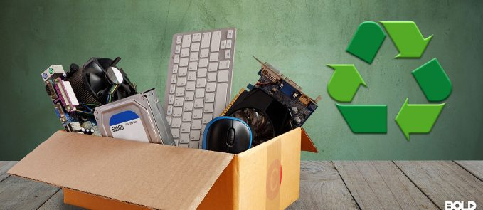 A bunch of old electronics about to recycled