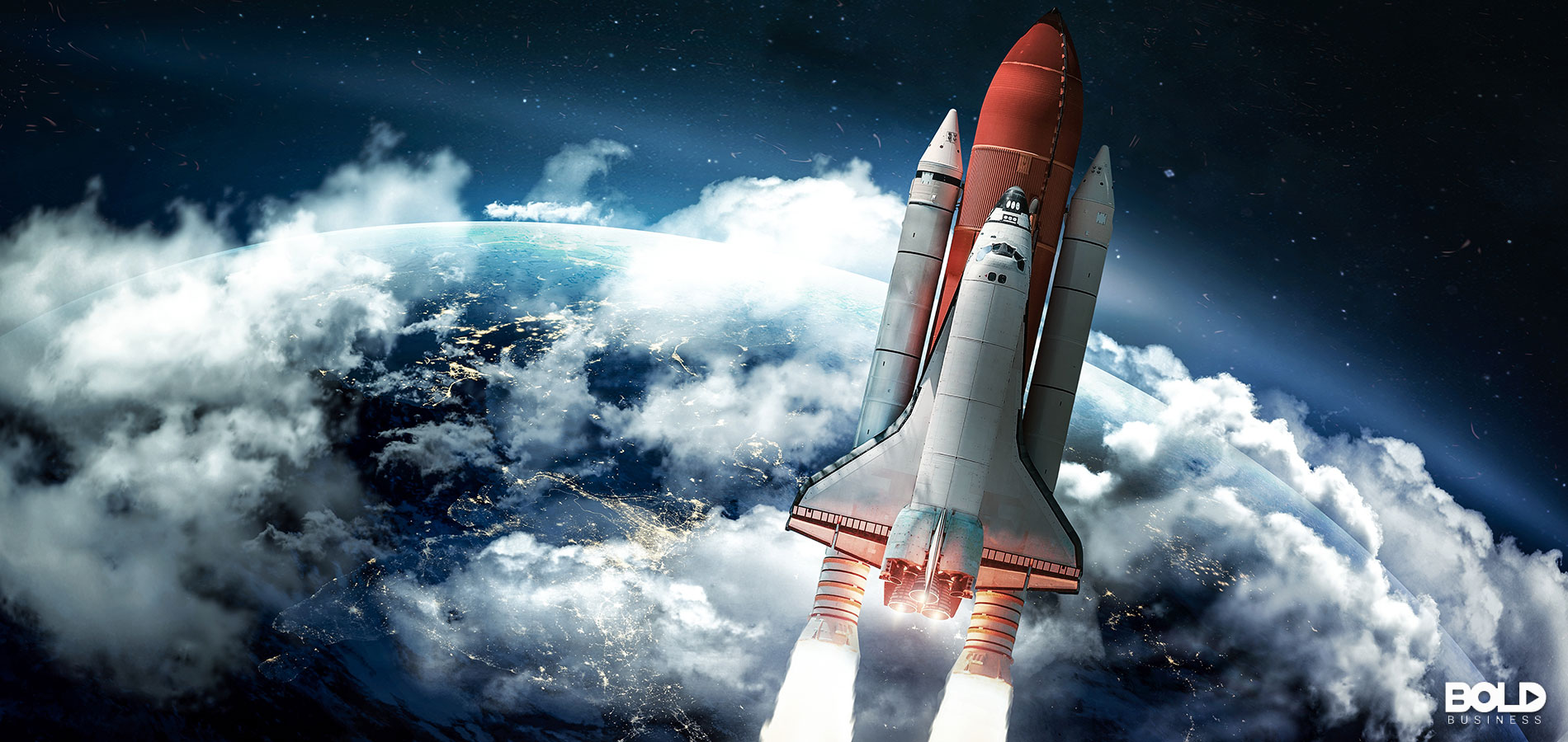 The Space Shuttle taking off into space, where it belongs