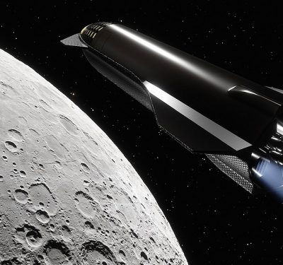 A space shuttle flying to the moon