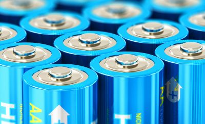 An army of blue batteries ready to charge