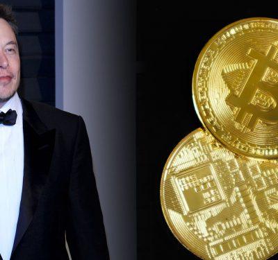 Elon Musk and some golden Bitcoins