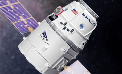 A SpaceX capsule floating around in orbit