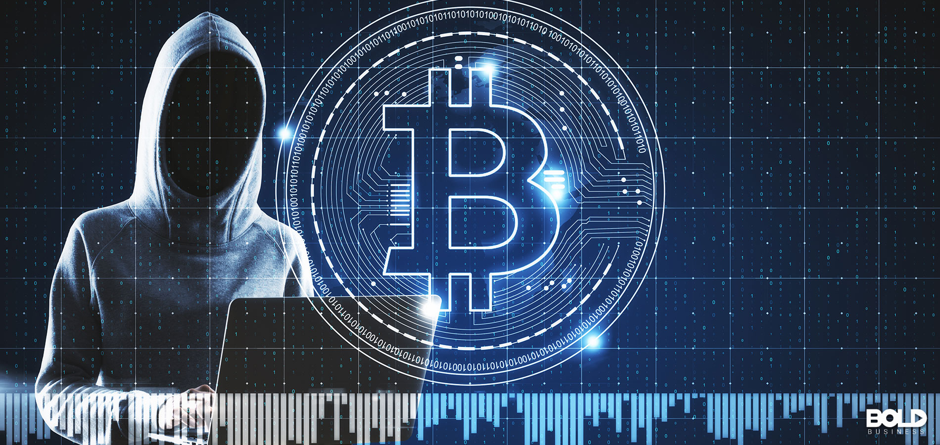 A person in a hoodie investing in Bitcoin