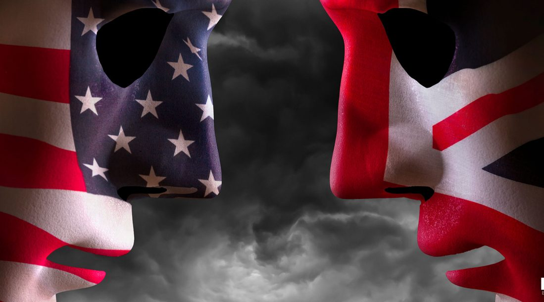 A couple of nationalistic masks facing off