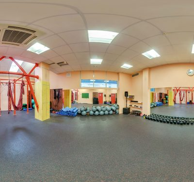 A panoramic view of the gym