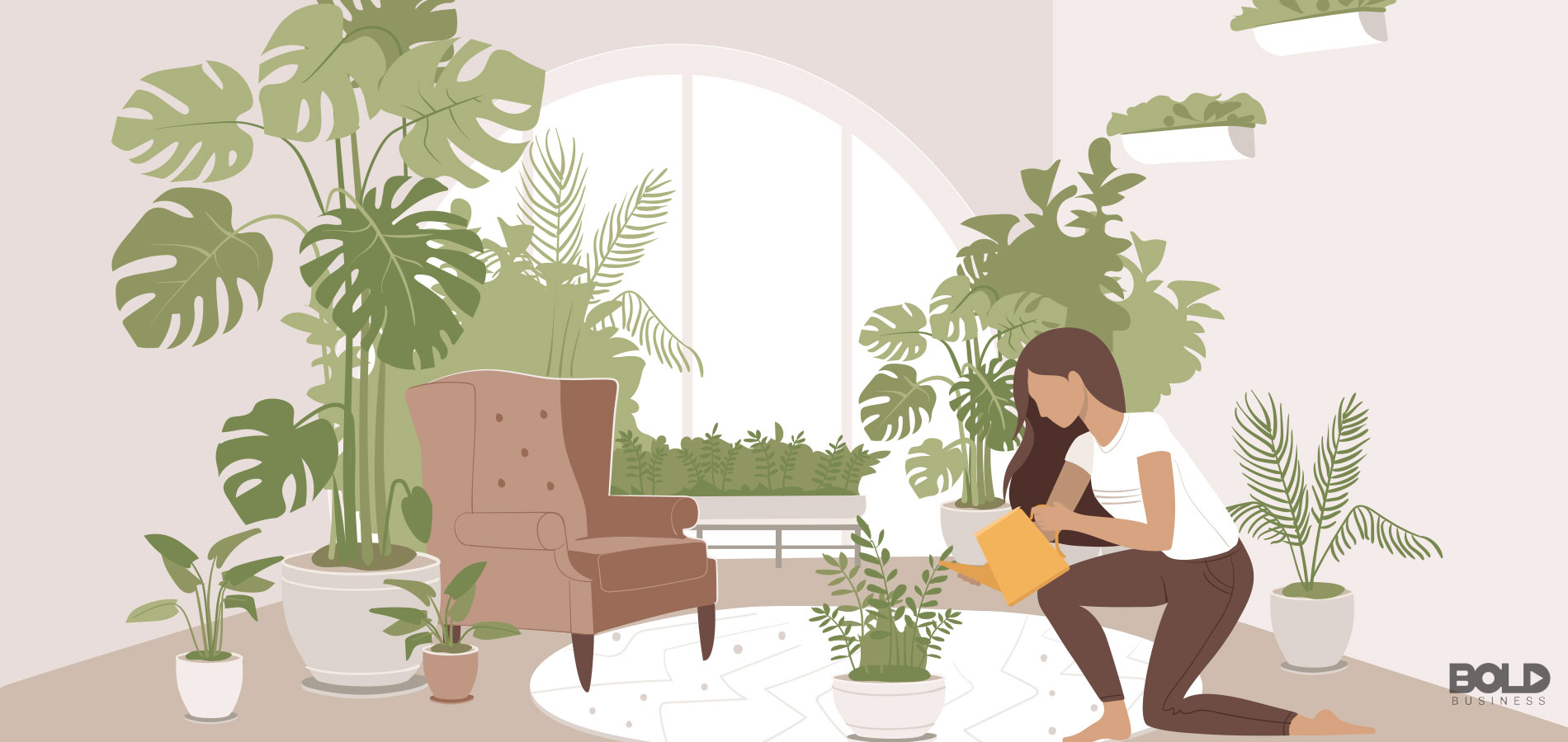A cartoon of a woman growing her own jungle
