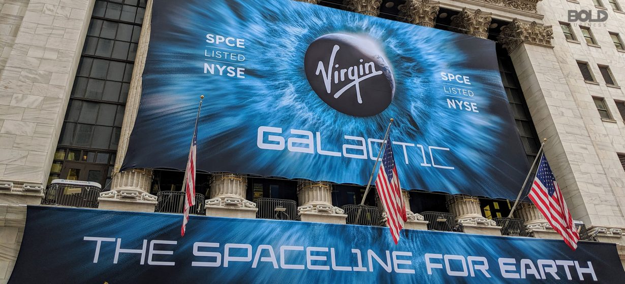 A poster of Virgin Galactic at the New York Stock Exchange