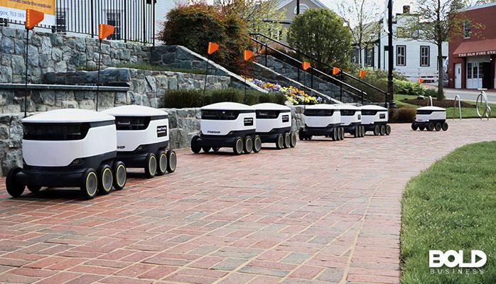 A fleet of autonomous robots delivering food