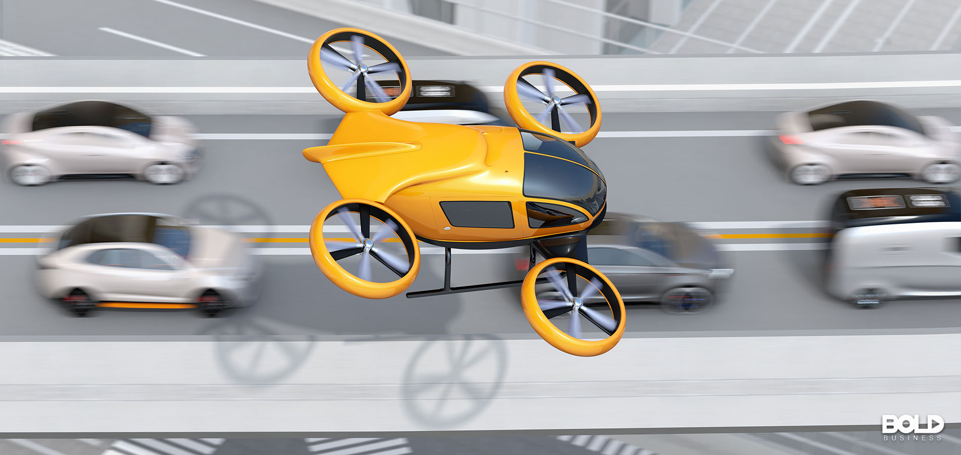 A yellow flying taxi skipping over the traffic jam