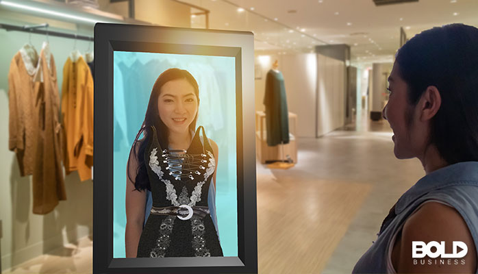 Someone trying on clothes virtually and staying germ-free