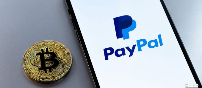 A bitcoin and the PayPal app