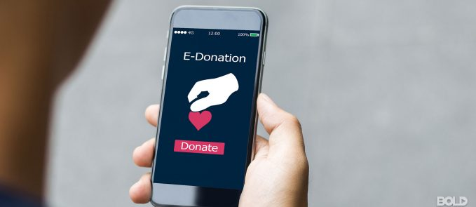Someone donating to charity via an app