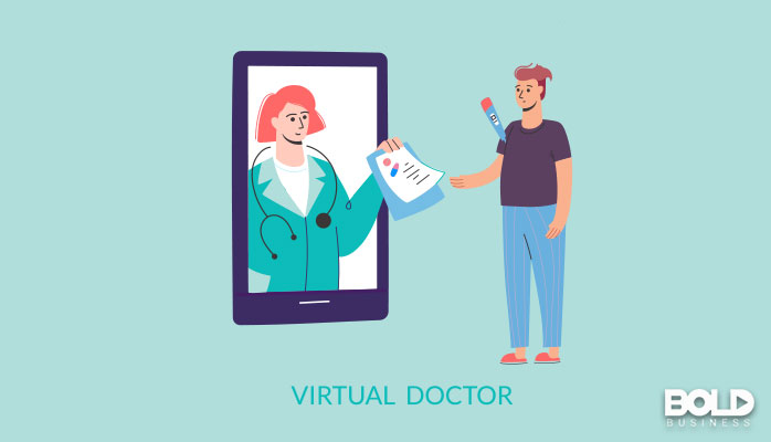 A cartoon of a doctor living in a giant phone