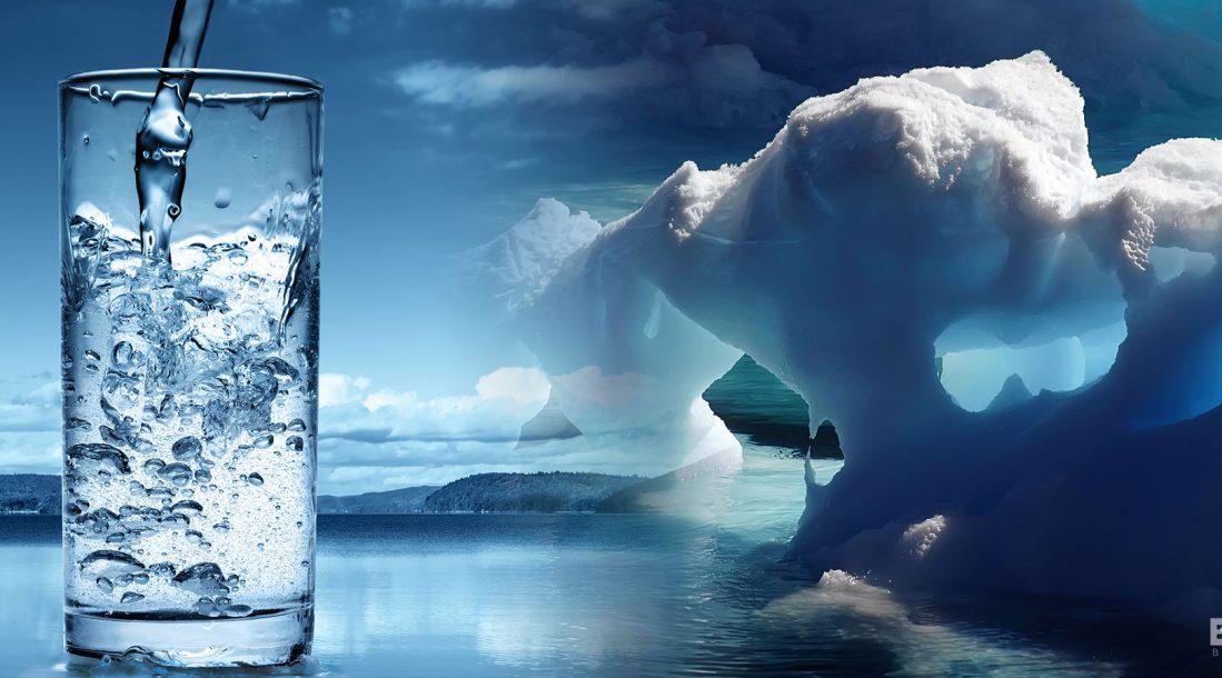 Someone drinking a big, refreshing glass of glacier
