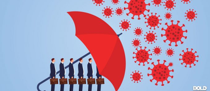 A bunch of businessmen shielded from COVID by a giant umbrella