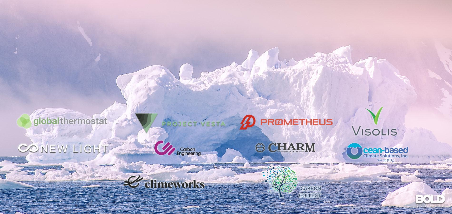 A bunch of company logos on an iceberg.